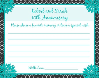 80 - Personalized 10th Anniversary Memory and Wishes Cards  -  Love Birds - CUSTOM COLORS - Any Year Anniversary
