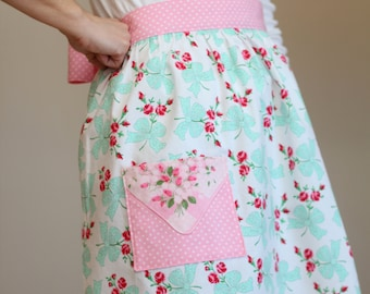 Retro Half Apron, Pastel Fabric Apron, Hostess Gift, Vintage Hankie Pocket, Bake Day Apron, Retro Easter Apron, Shabby Chic Spring Apron