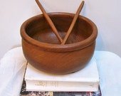 Lovely Teak Salad Bowl with Servers 70s