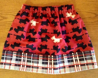 Last One.......Holiday RED and BLACK TERRIER skirt Size 6/7