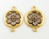 Flower Jewelry Connector Link Mixed Metal Gold Bronze Brown Earring Findings Component  G13-8 2