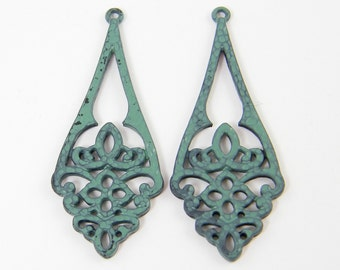 Verdigris Green Earring Findings Filigree Lacy Cutout Jewelry Component |GR9-11|2