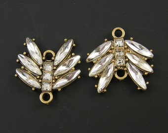 Clear Rhinestone Jewelry Connectors Antique Gold  Marquis Emerald Cut Link Jewelry Finding Component |AN5-14|2