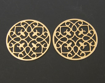 Gold Laser Cut Earring Findings Pendant Charm Round Ornate Circular Patterned Jewelry Supply  G8-8 2