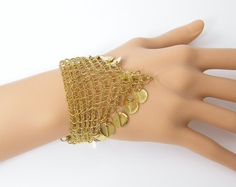 Slave Bracelet Finding Gold Chain Maille Chainmaille Mesh Coin Dangle Necklace Focal Point Jewelry Supply |G11-2|1