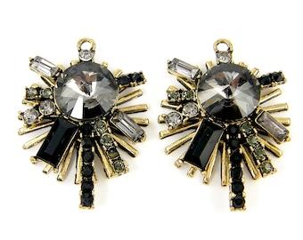 Rhinestone Cluster Earring Findings Black Gray Antique Gold Rivoli Spiky Pendant Jewelry Supply |BL6-1|2