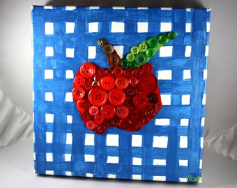Rustic Apple Mixed Media Painting