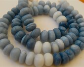 1/2 Strand Of Rare Shaded Blue Opal Smooth Polished Rondelles 8mm-10mm Semi Precious Gemstone Beads