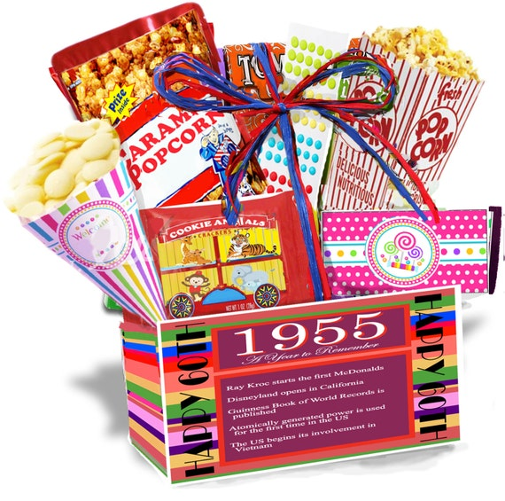 60th Wedding Anniversary Gift Basket : 60th Birthday Gift Basket Box,1955 ,We Turned the Past into a Present ...
