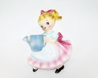 Vintage Lefton Dainty Miss with Watering Can Wall Pocket