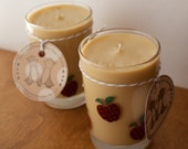 RESERVED Caramel Apple Soy Wax Candle Pair in Reused Juice Glasses