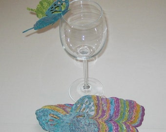 Wine Glass Butterfly Place Card Bright Patterned Wedding Shower Anniversary Birthday  (75)