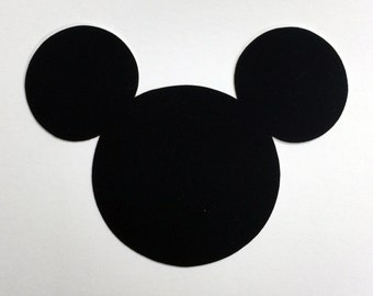 "Disney Mickey Mouse Die Cut Black Velvet Cardstock - 4"" Size - Scrapbook Art Craft Embellishment Kids Birthday Party Invitation Vacation"