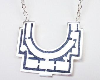 Villa Giulia Architectural Floor Plan Sterling Silver Necklace