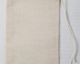 25 3x5 Cotton Muslin Drawstring Bags Bath Soap Herbs
