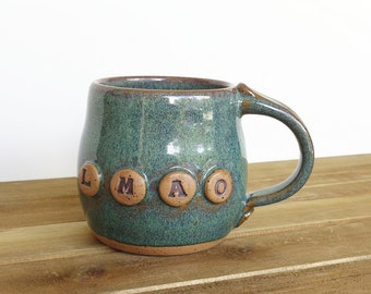 Ceramic Coffee Cup in Sea Mist Glaze - LMAO
