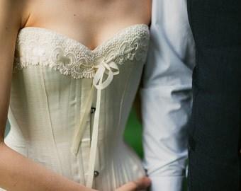 Handmade Cream Satin Wedding Corset