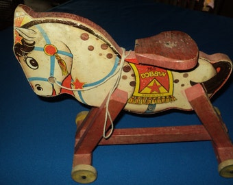Antique Pull Toy Fisher Price Wooden Horse--Dobbins #765