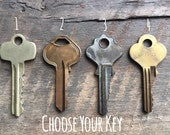 Custom Key Necklace | Choose Your Key – Choose Your Word | Vintage Key Necklace, Inspirational Word Necklace, Bridesmaid Gift, Gift For Her