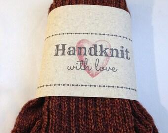 Handknit  Socks Big Foot Brown Tweed Man  Adult Acrylic Wool Blend Yarn Warm Gift