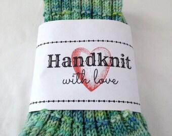 Handknit  Socks Varigated Shades of Green  Adult Teen Girl Superwash Wool Warm Gift