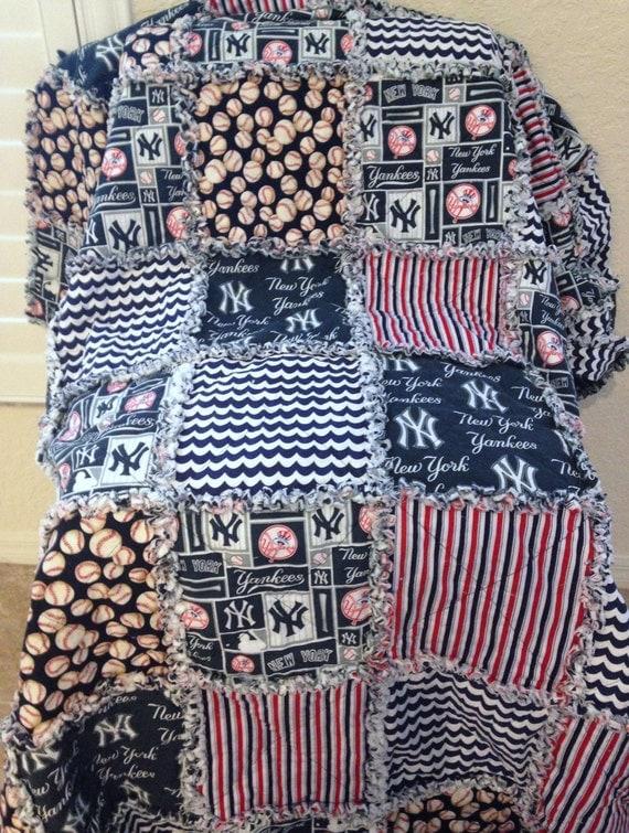 New York Yankees Rag Quilt Blanket 68 X 72