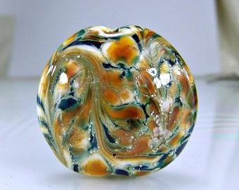 Silvered Teal Blue Orange Lampwork Bead SRA Glass Beads