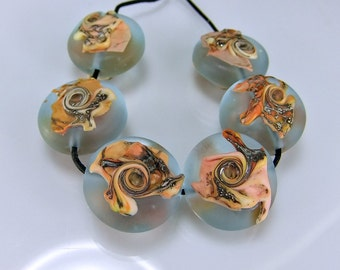 Etched Pale Aqua and Silvered Coral Ivory  Lampwork Bead Set Handmade Glass Bead Set