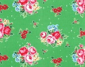 Green Christmas Floral Holly Berry 31327 60 Fabric by Lecien Flower Sugar Holiday