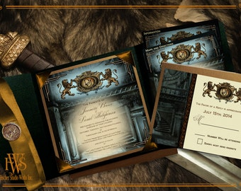 Baroque Historical Heraldic Style Wedding Invitations