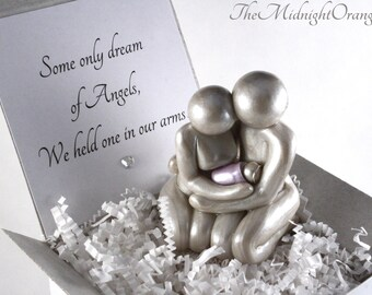 Some Only Dream of Angels - Mother Father and Baby sculpture - infant loss remembrance keepsake - you choose blanket color - made to order