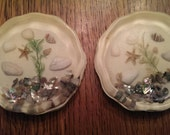 Vintage Lucite Acrylic Inlaid Sea Shell & Starfish Drink Coasters