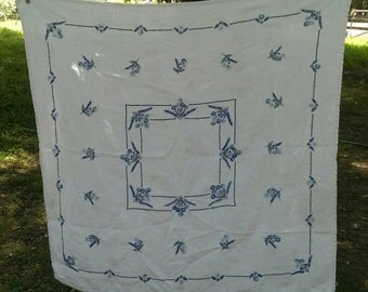 Vintage Blue and White Embroidered Floral Table Cloth Or Picnic Cloth