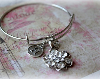 Letter H initial Bangle Bracelet with Charms, Flower, Crystal, Unique, Trendy, Personalized, H, Silver, Fast Shipping, Ready