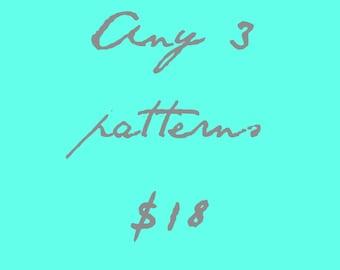 Cross Stitch Patterns - Choose 3