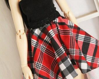Doll MSD Minifee BJD clothes Red Plaid hi-low skirt MonstroDesigns