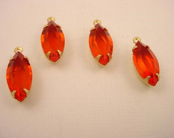 6 red orange Hyacinth open back navette 1 ring open back brass setting 15x7