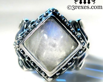 Raven Love Silver Wedding Ring Victorian Gothic Engagement Band Magic Moonstone Size 6