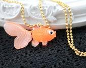 Kawaii orange goldfish simple necklace cute lolita girl retro  golden chain
