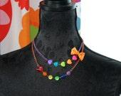 Pretty heart Rainbow double bow Necklace Kawaii lolita fairy kei