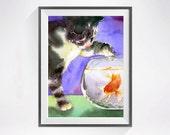 Black Cat Art / Watercolor PRINT / Black cats Kitty artwork / Watercolor  painting Tuxedo cat and goldfish bowl / Tabby cat animal art Blue