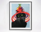 42. Black Cat Art PRINT Watercolor Painting, Kitty animal artwork / Pet portrait cat lover Colorfield red black / Childs room wall decor
