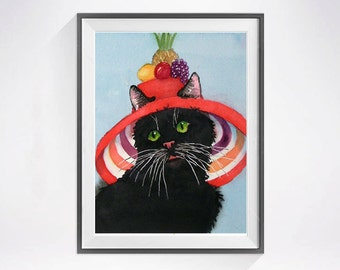 23. Black Cat Art PRINT Watercolor / Cat in a hat / Kitty artwork / Striped hat colorfield Red black Wall decor for childs room /C