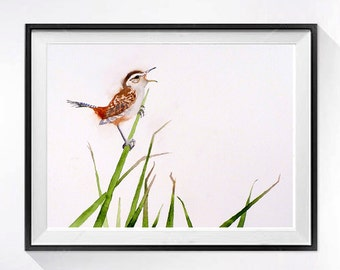 Bird Art Print Wren Watercolor Print Small bird Nature art Marsh Wren realistic painting Earth tones Watercolour Nursery Art LaBerge N