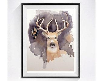 Deer Art / Antler art print / Animal art / Watercolor painting / Funny illustration / Man cave decor / wall art grey brown / 8 x10 N
