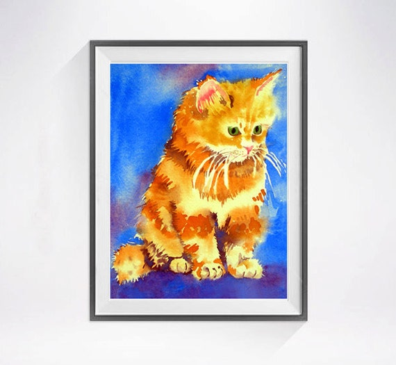 Persian Cat Print Watercolor Painting Kitty Animal By