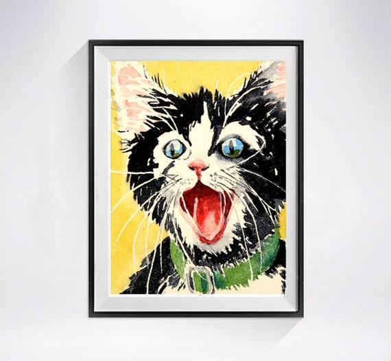 28. Cat Art / Black Cat Art / Watercolor Print / Animal happy kitty poster / Tuxedo cat painting / Kitten illustration / black yellow / C