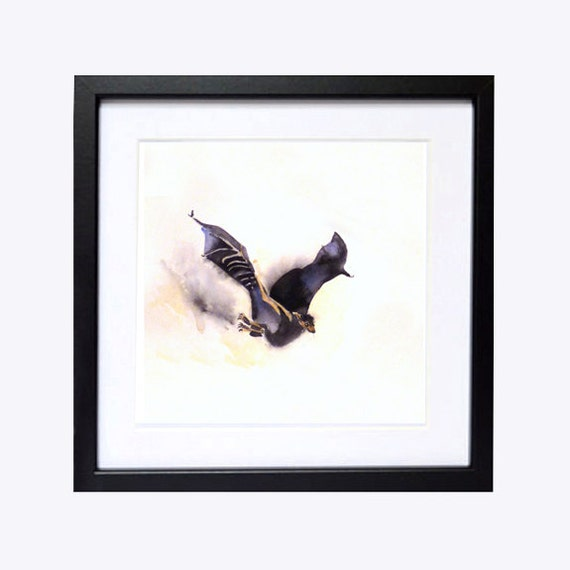 Bat Art Archival PRINT Watercolor painting / Colorfield Black White / Flying bat / Animal art  painting Woodlands black white - 10 x 10 IN A
