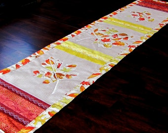 thanksgiving table runner, red orange yellow table topper for fall decor, maple leaf decor for autumn