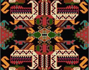 Large Pillow Tribal Rug design  Cross Stitch Pattern PDF